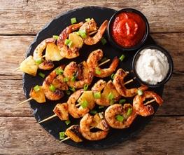 Grilled Pineapple Teriyaki Shrimp Skewers
